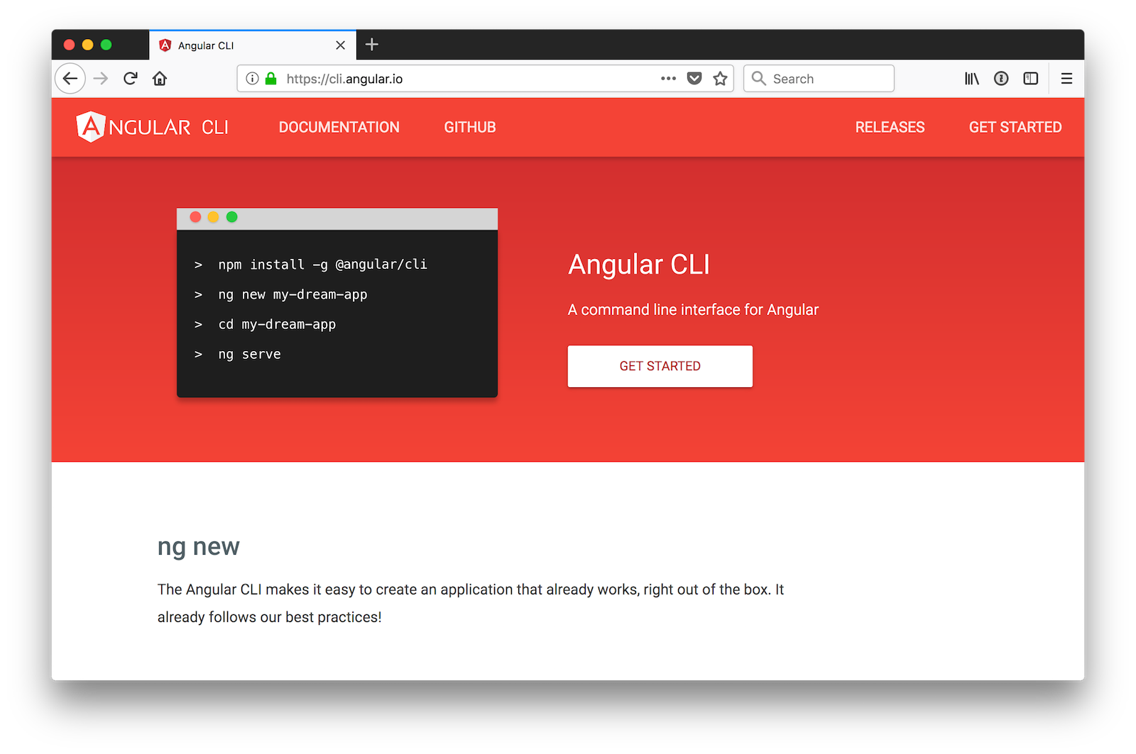Angular CLI Homepage