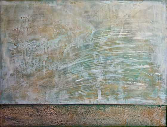 acrylic, plaster on wood panel, 37 in. x 28 in. (94 cm x 71 cm)