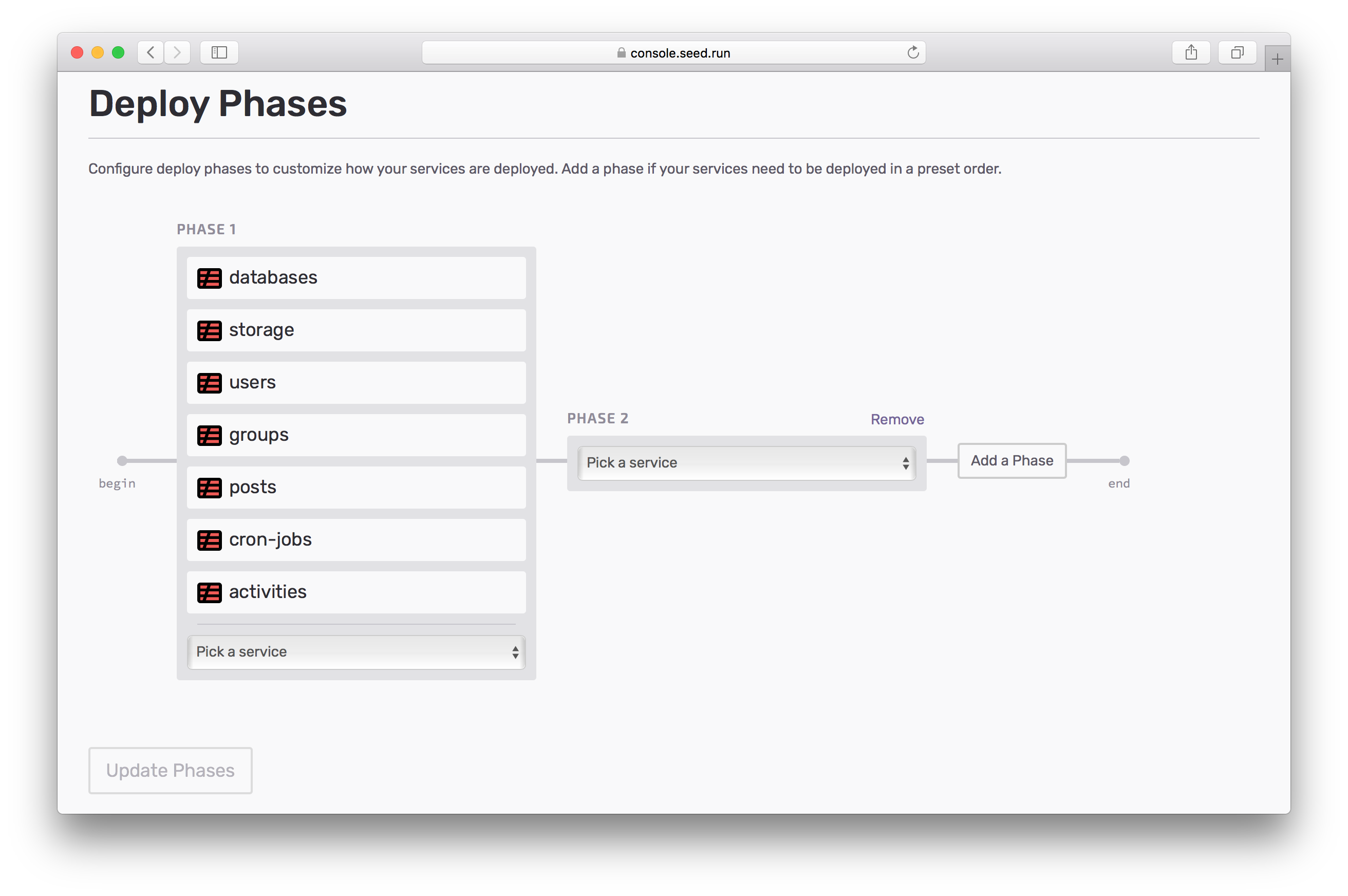 Configure new Deploy Phases