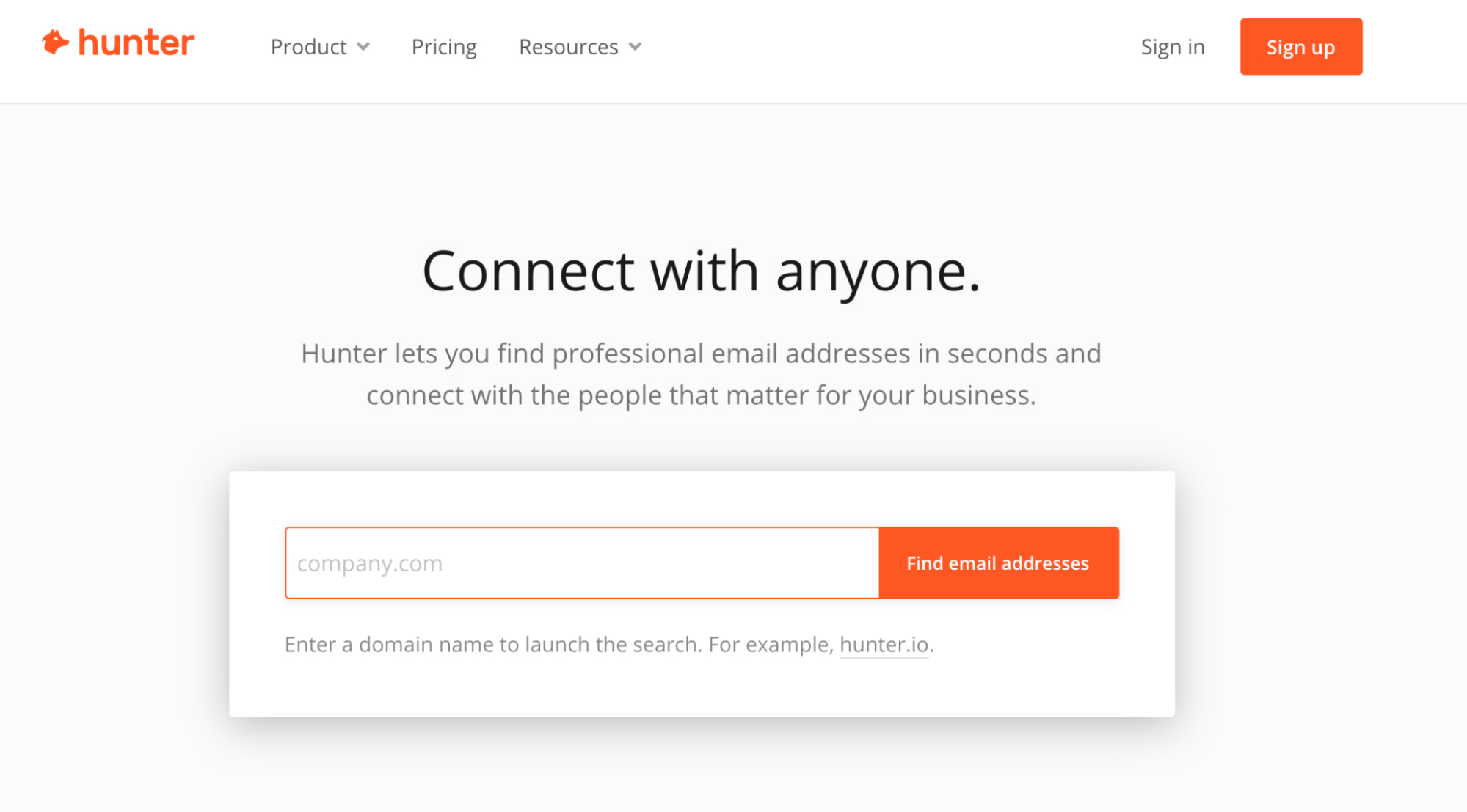 SaaS Marketing Automation Tools: Hunter Screenshot