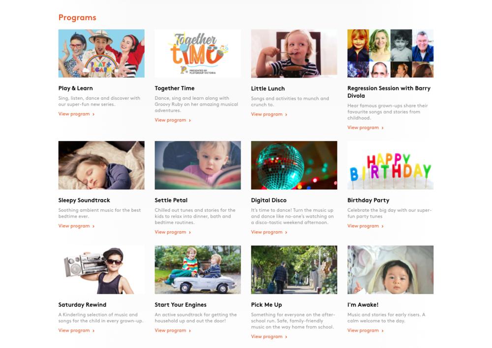 Kinderling programs grid listings