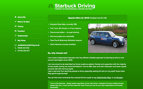 Starbuck Driving home page design