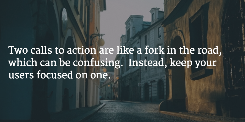 focus-on-one-call-to-action
