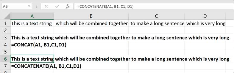 An example of the CONCATENATE function in usage
