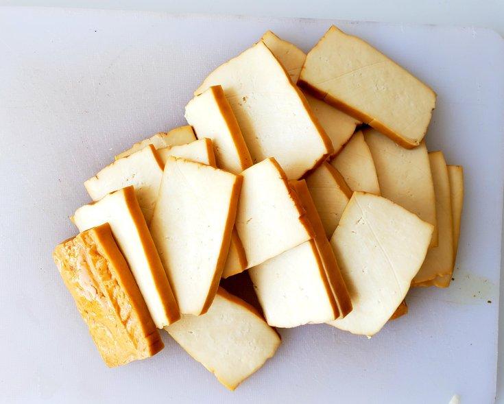 Slices of smoked tofu