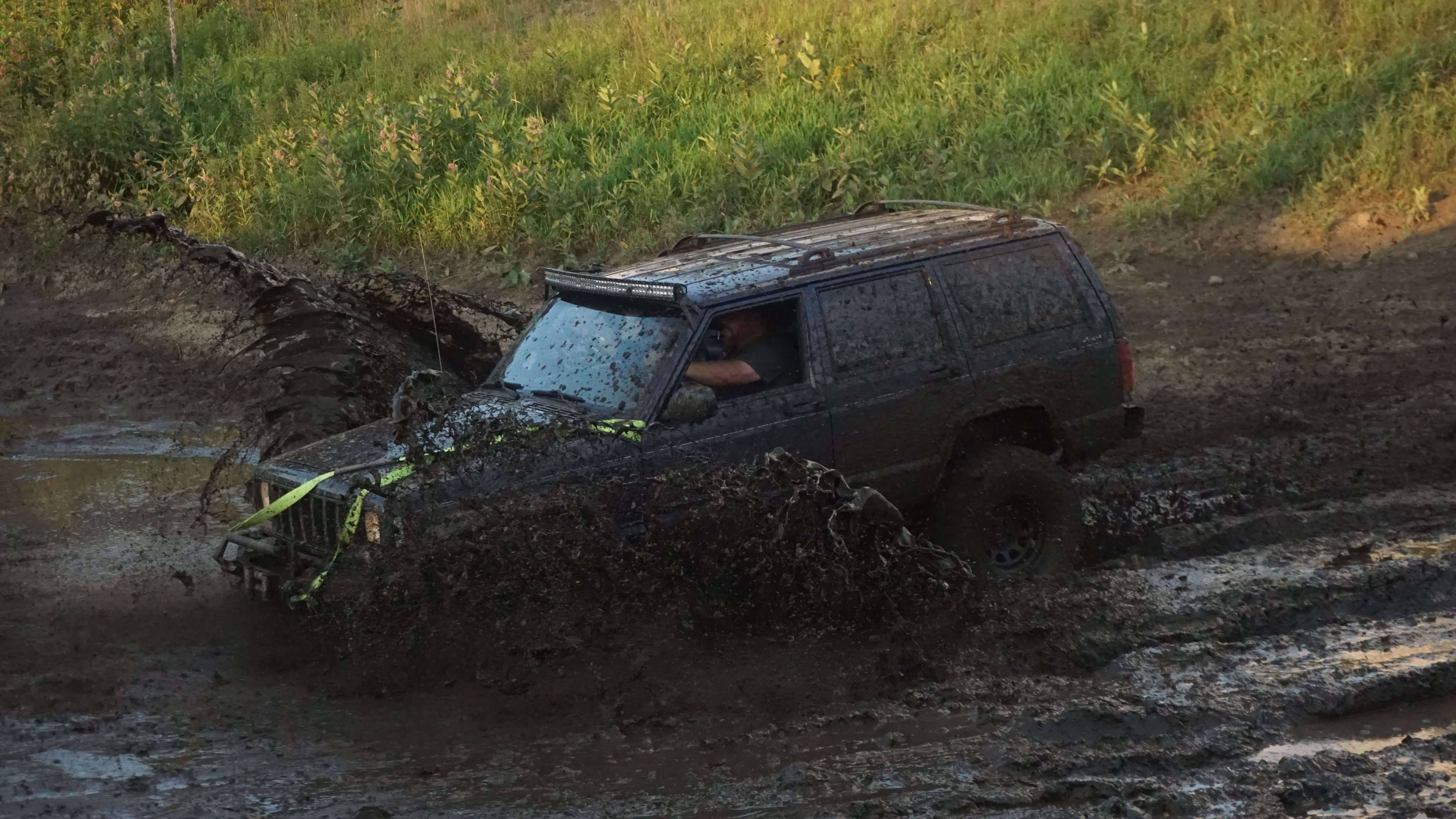 An Jeep going through the famous Mudbug