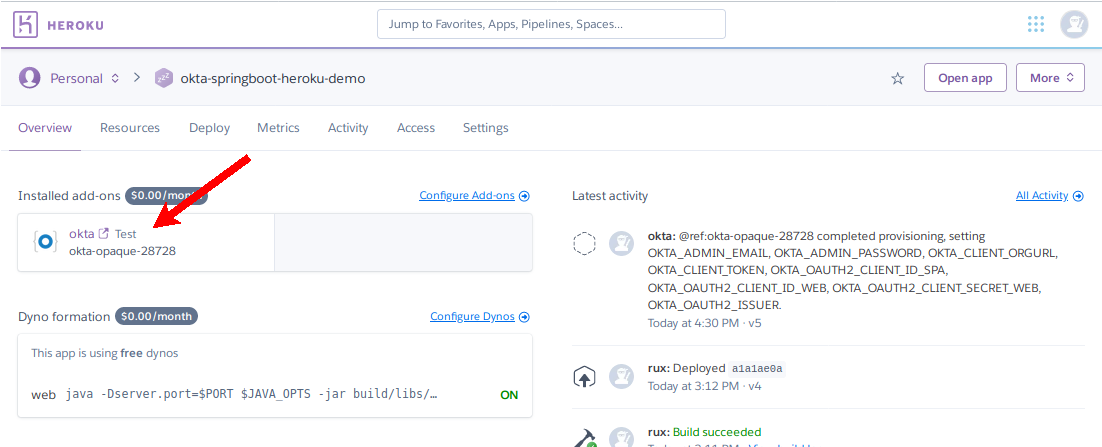 Locate Okta configuration within Heroku dashboard