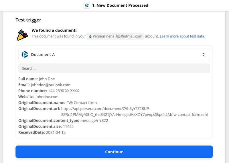 Zapier will retrieve the parsed data