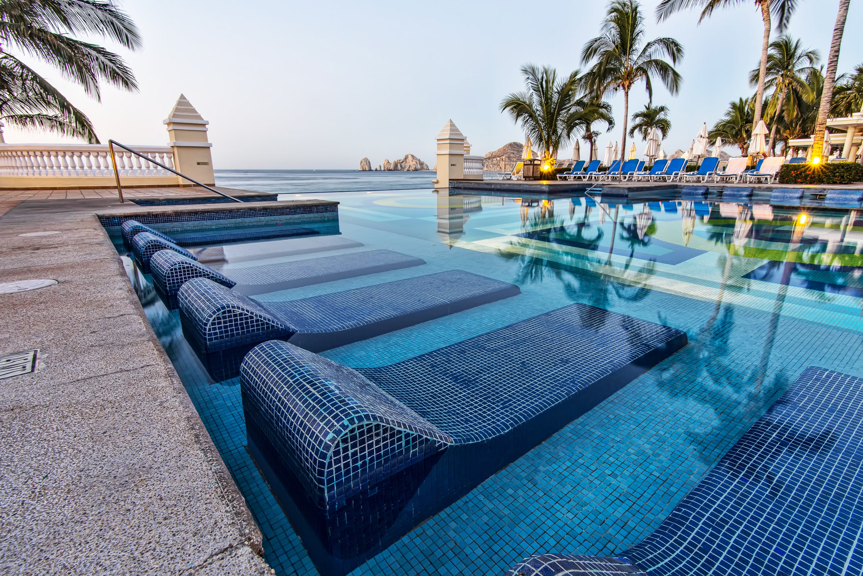 swimming pool at a resort hotel in cabo san lucas, mexico