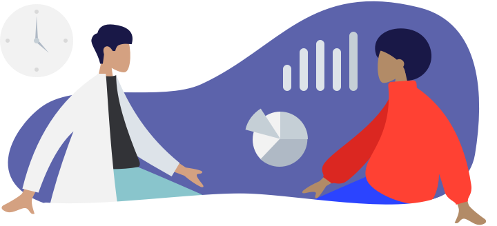 Illustration showing a doctor with patient surrounded by charts.
