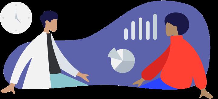 Illustration zeigt einen Arzt mit Patienten umgeben von Diagrammen.