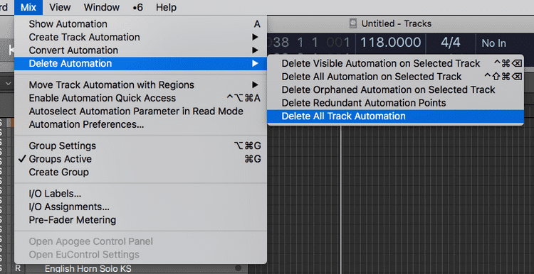 menu option to delete automation in logic pro x