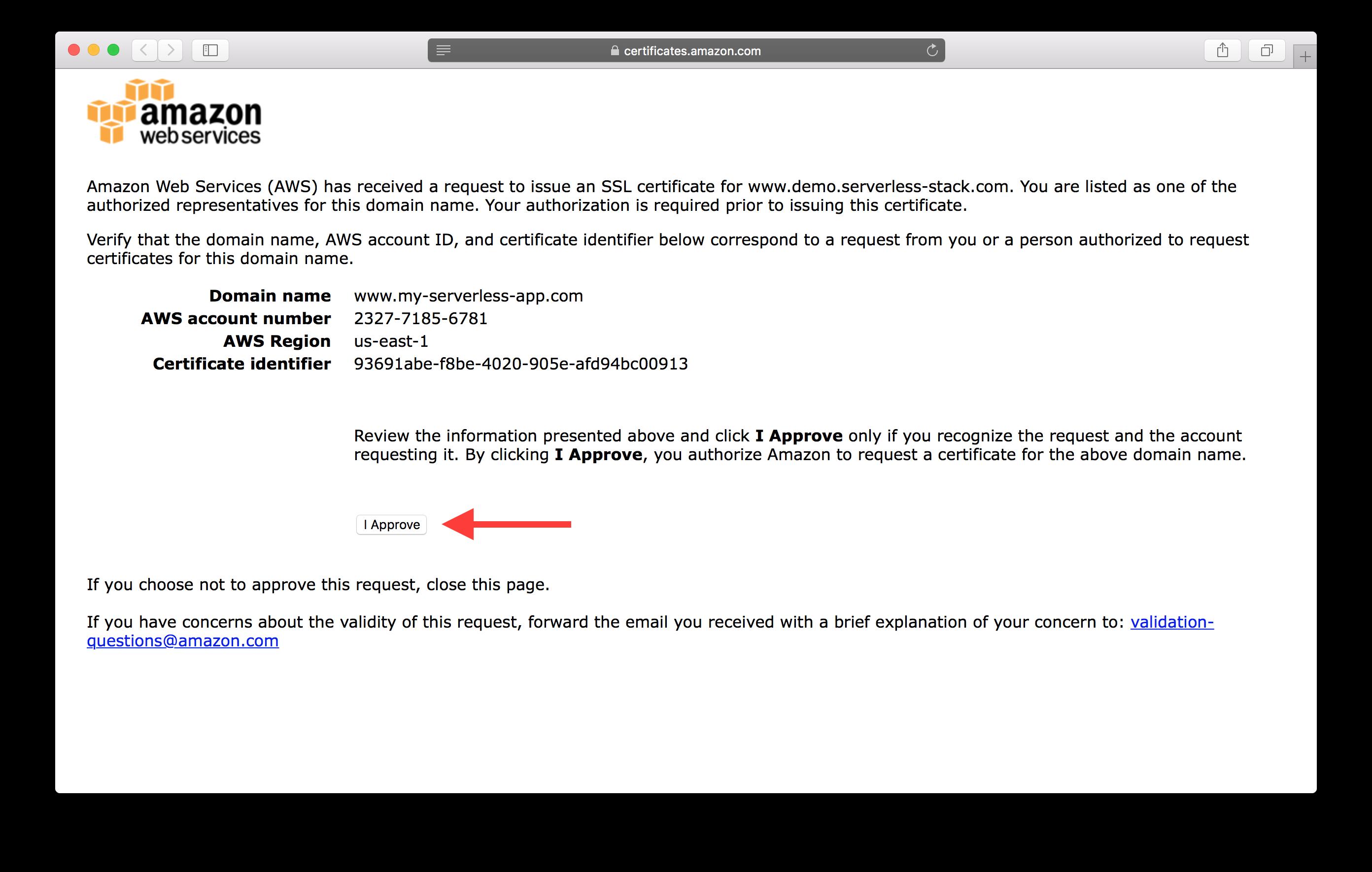 Set up ssl serverless stack domain verification screen screenshot xflitez Gallery