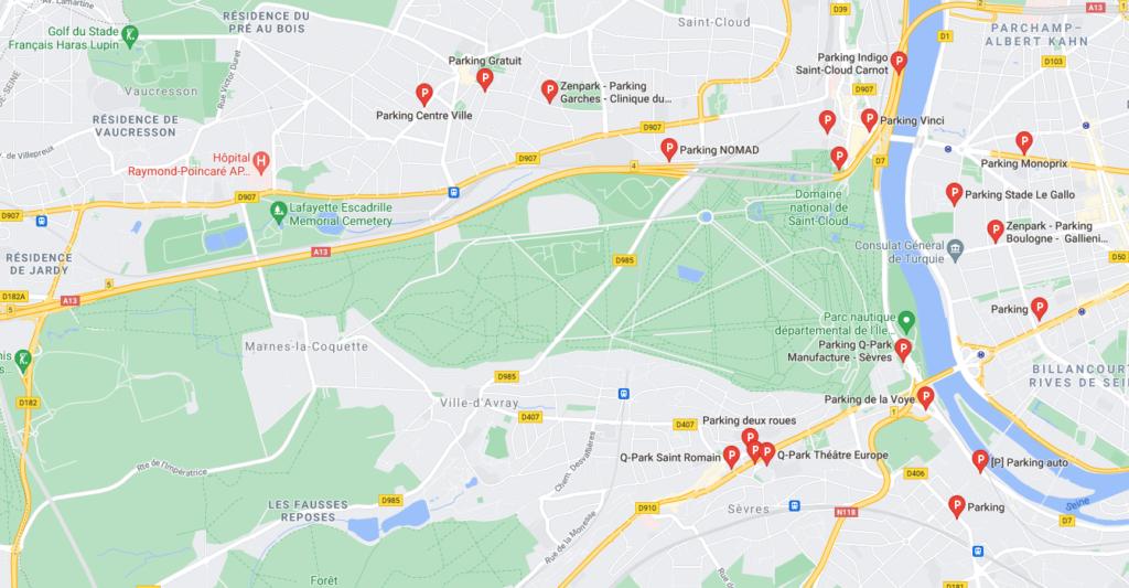 carte gmap saint cloud et parkings
