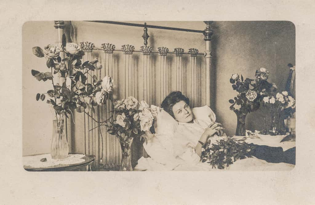 Sick in bed\, antique photograph
