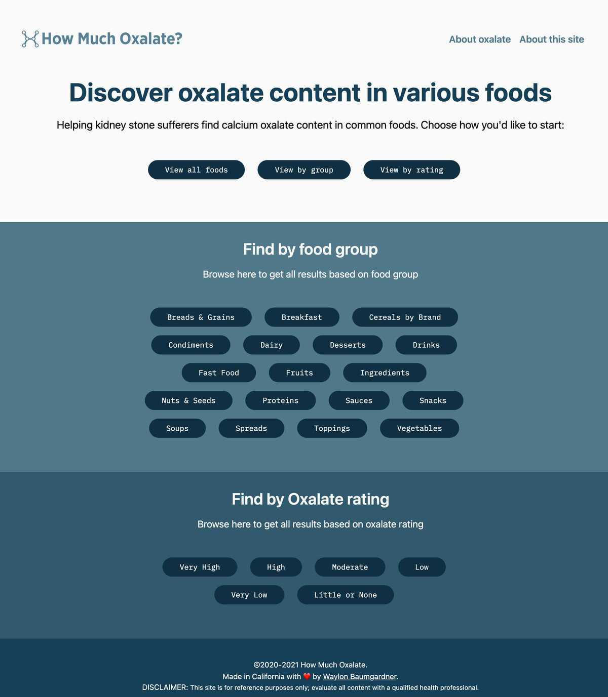 Screenshot of the How Much Oxalate website; white background with teal foreground colors and a grid of button options