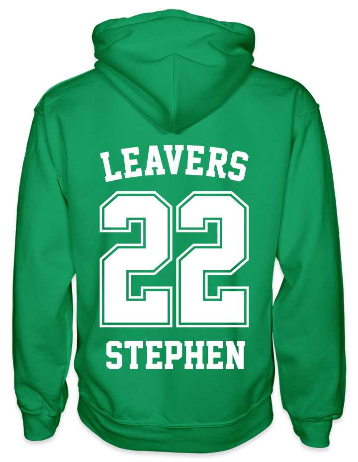 leavers hoodies solid 22 design with leavers printed across shoulders, solid 22, nickname printed at the bottom