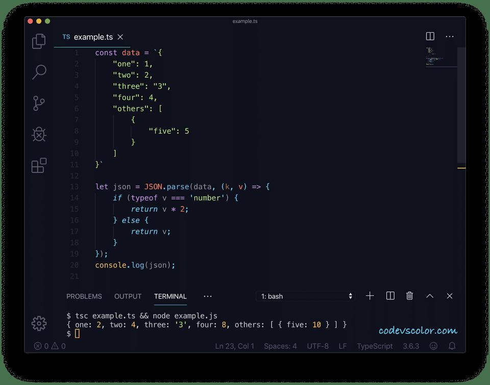 TypeScript json parse reviver example