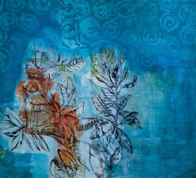 What grows on a bukit wall 2, acrylic charcoal and collage on canvas