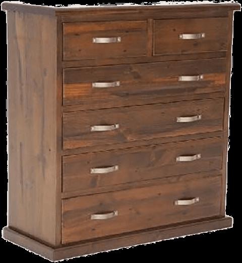 6 drawer 'Felton' pine tallboy - dark colour