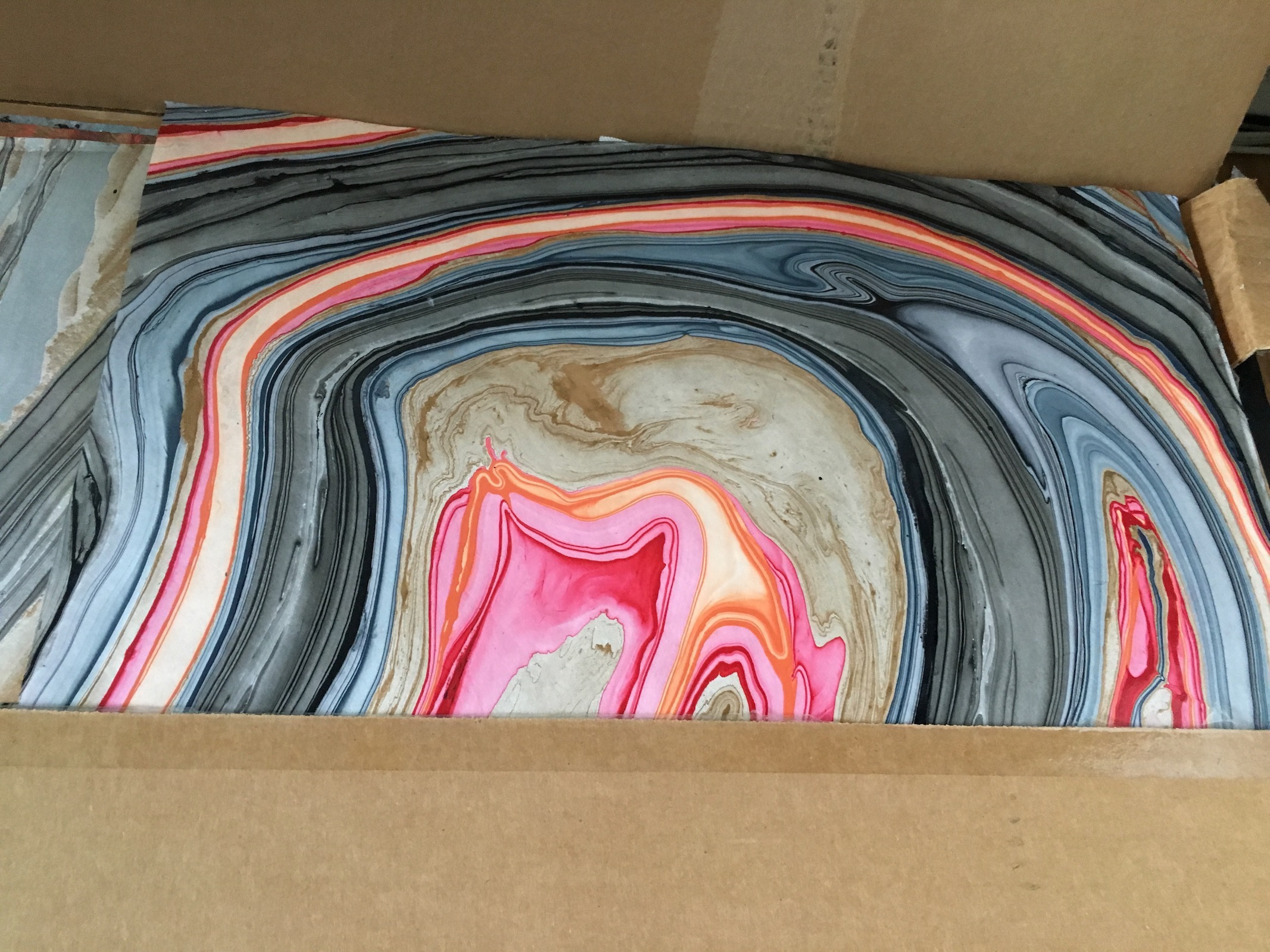<p>…and I had this handmade swirly paper on the closet, which I've used often for endpapers.</p>\n