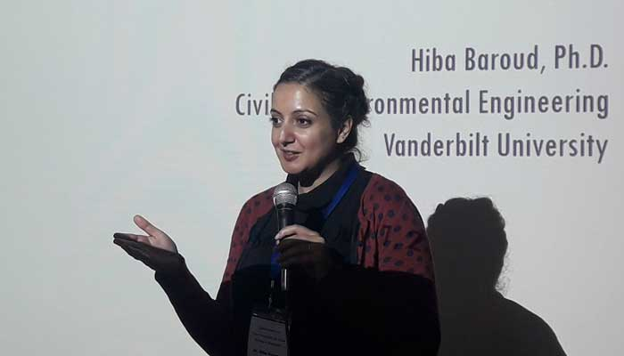 Professor Hiba Baroud of the Department of Civil and Environmental Engineering at Vanderbilt University presented her research on changing conditions of waterways in Bangladesh and the impact on inland shipping.