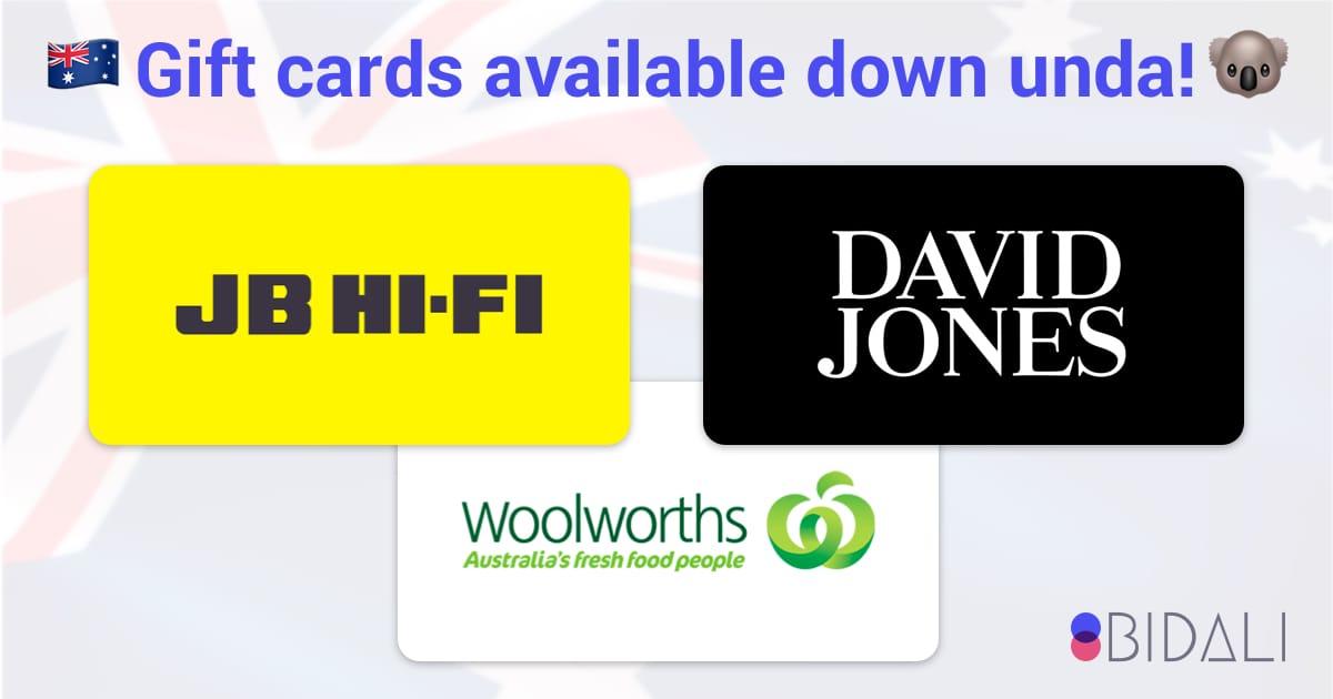 Bidali Australia Gift Cards