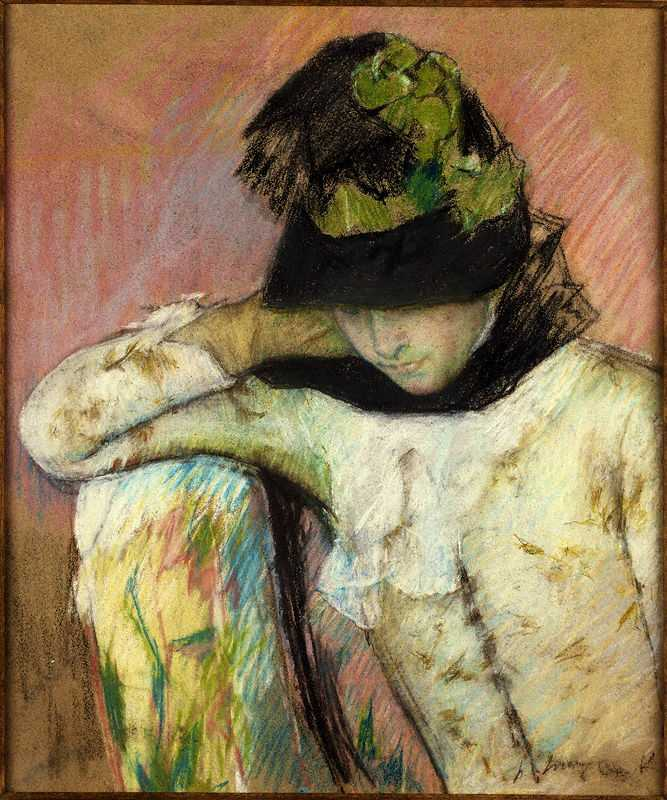 'Young Woman in a Black and Green Bonnet', painted by Mary Cassatt, c. 1890, Princeton University Art Museum
