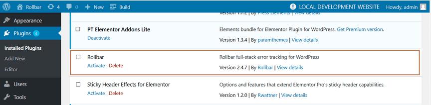 Screenshot of Rollbar WordPress install plugin