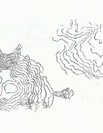Partial charcoal contours traced from a map
