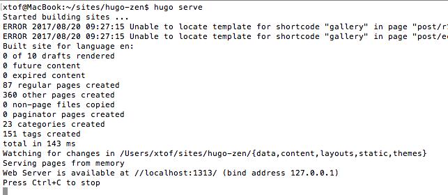 terminal : hugo serve