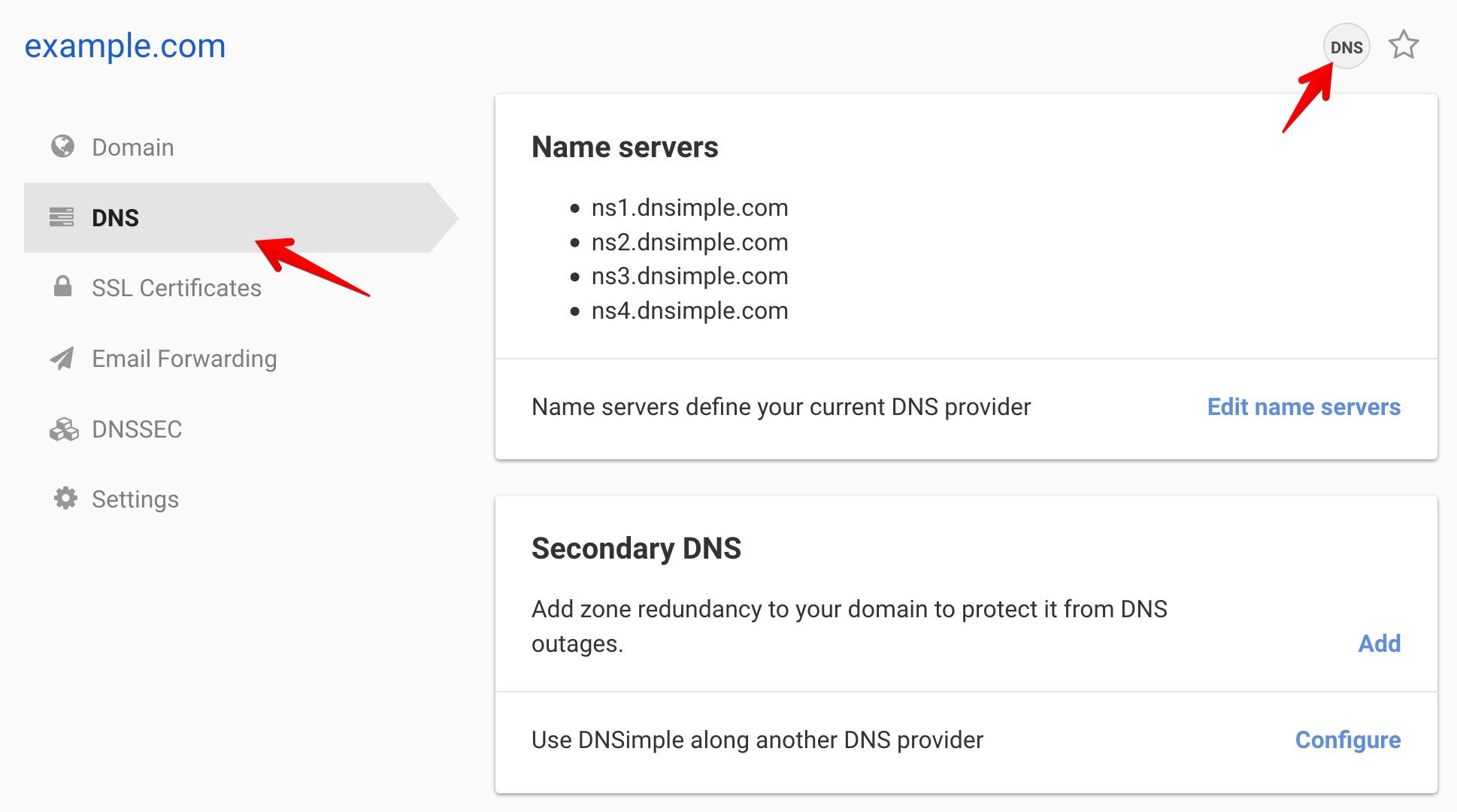 Access DNS records