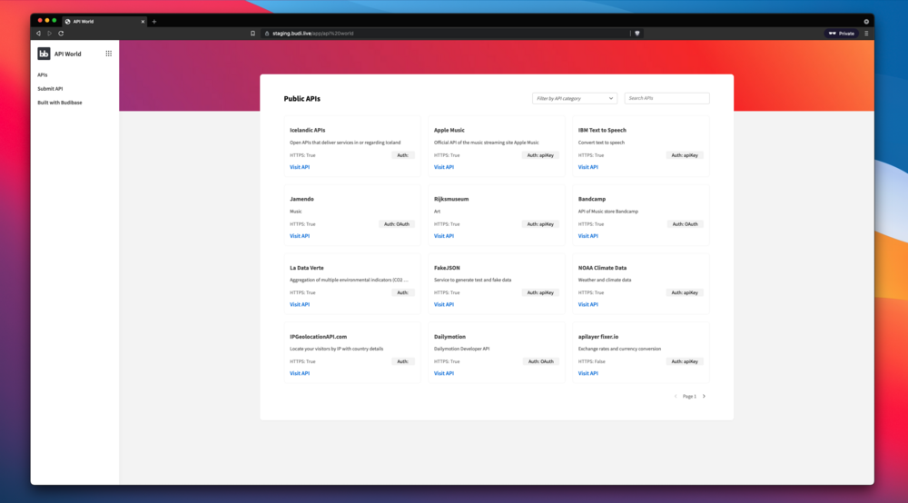 API World screenshot