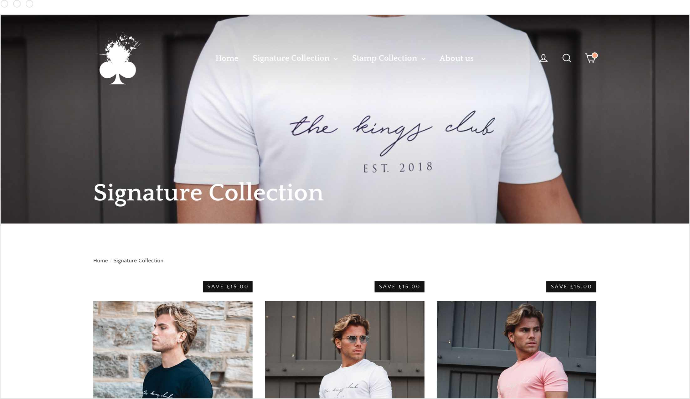 Product collection, website and online store design by Jack Watkins for men's clothing brand, The Kings Club