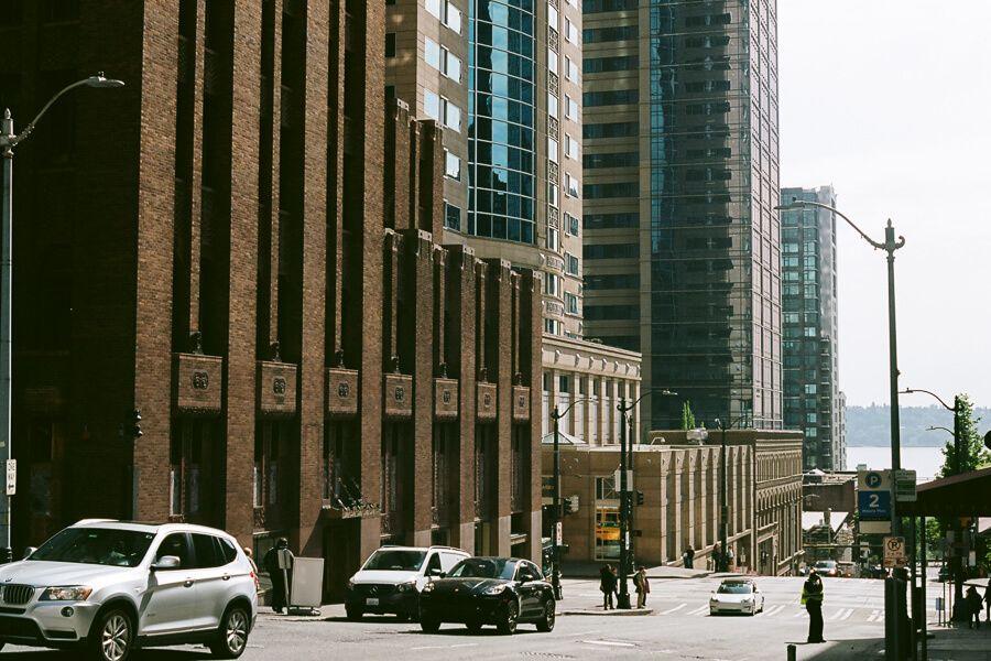 Street view of a dark brick building