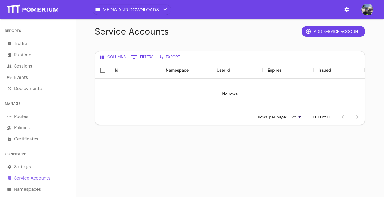 An empty Service Accounts page