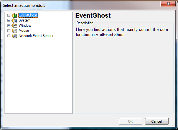Eventghost 'Add Action' Interface