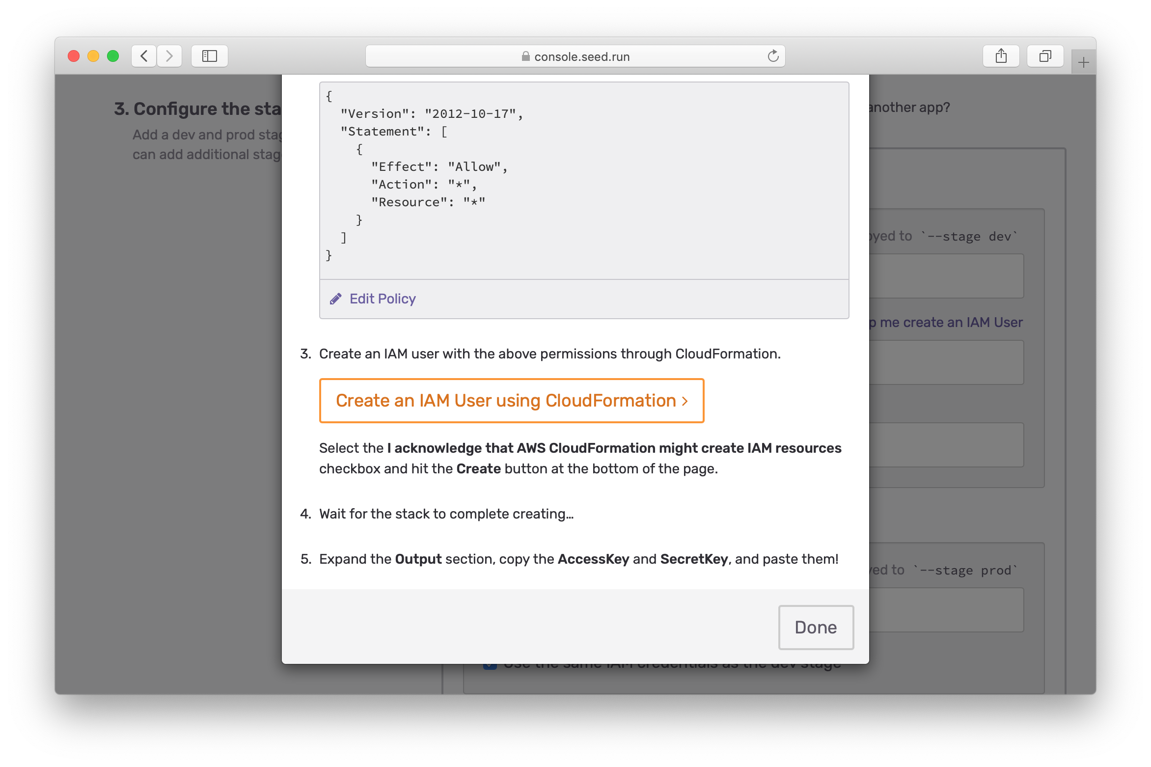 Click Create an IAM user using CloudFormation screenshot