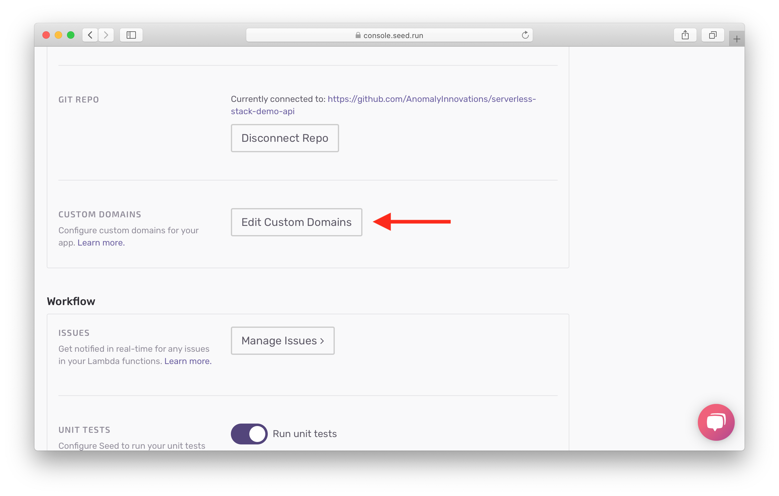 Click Edit Custom Domains in app settings screenshot
