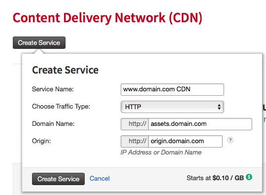 fill in the information to create a new service