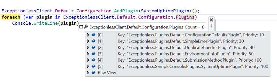 Exceptionless Plugin Priority