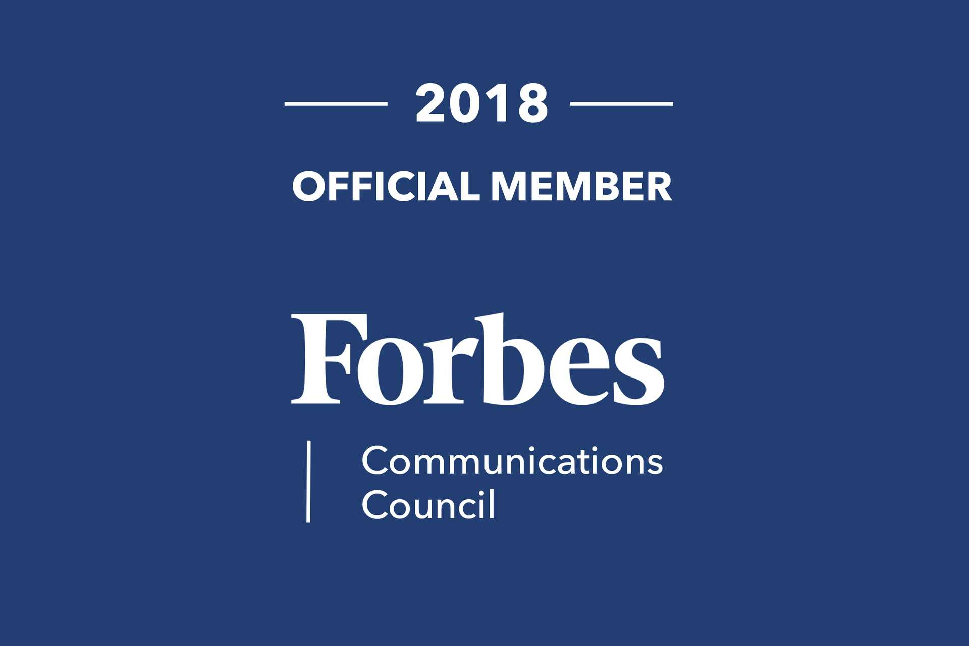 2018 Official Member Forbes Communications Council on blue