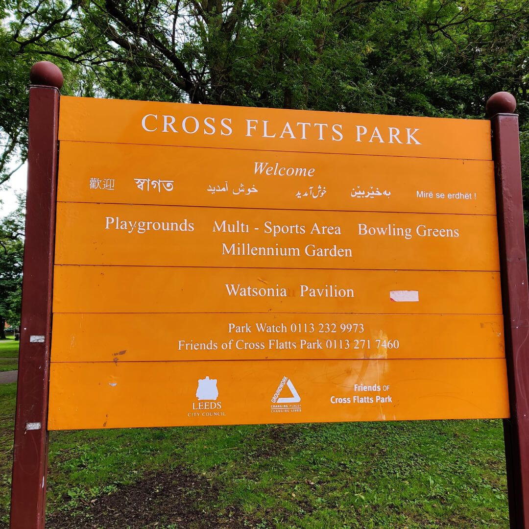 Cross Flatts Park sign