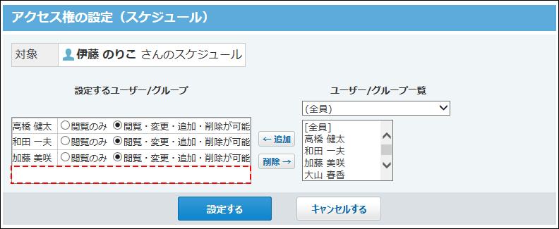 伊藤さんのスケジュールに対して岡田さんのアクセス権を削除した画像