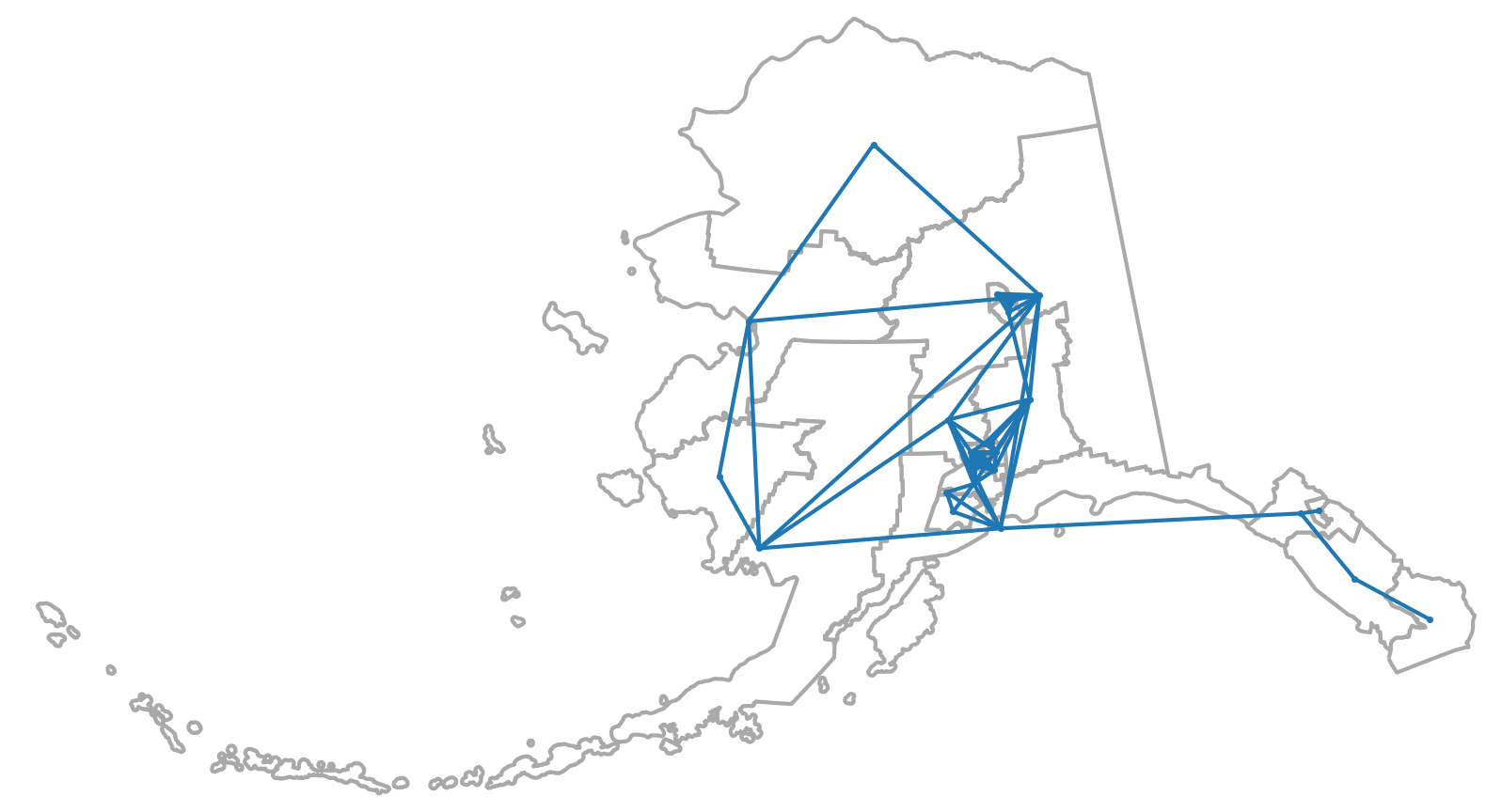Dual graph of Alaska's state House districts