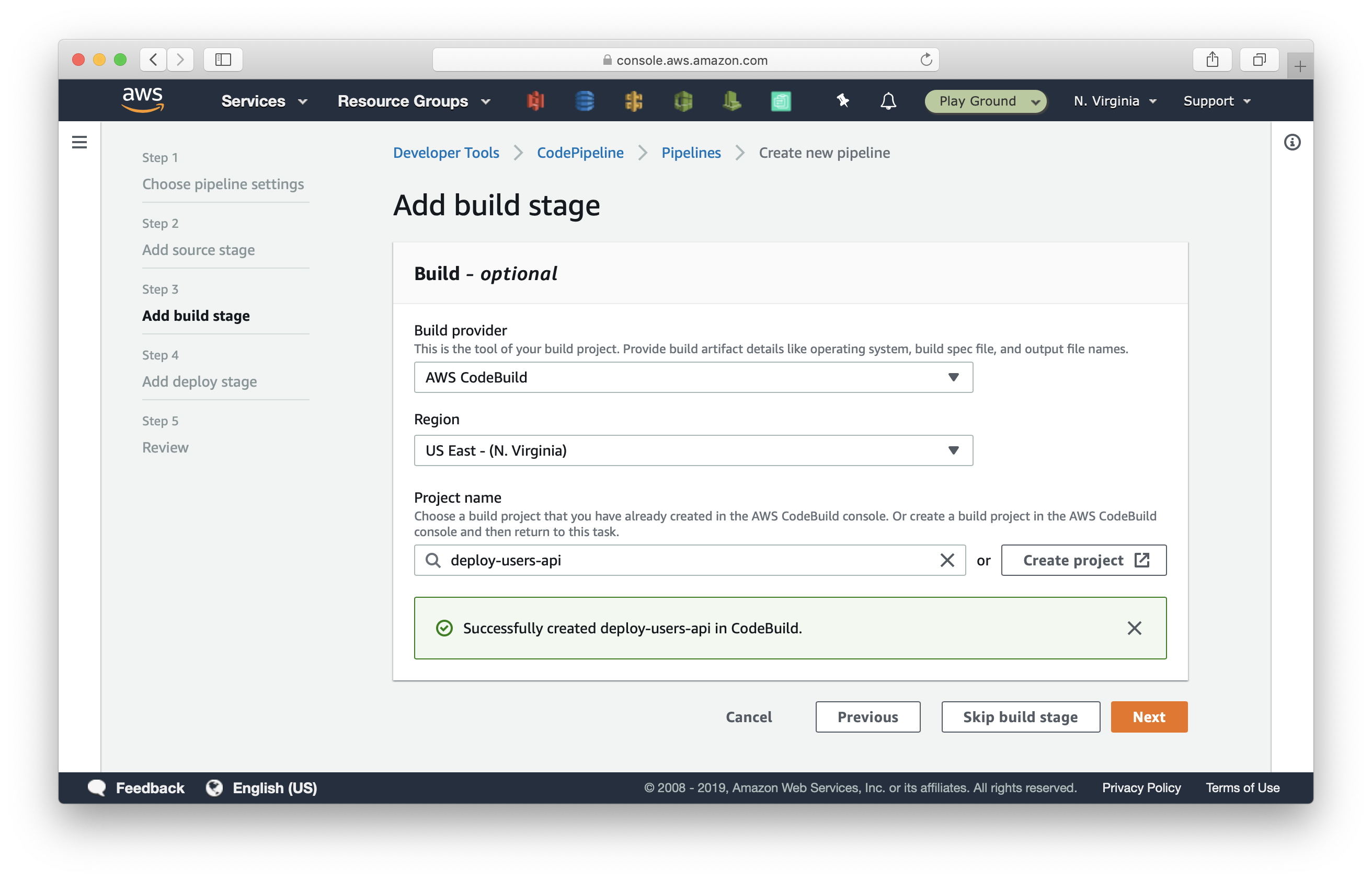 Add build stage in CodePipeline