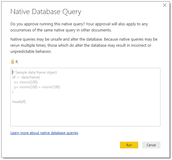 R script interface in Power BI