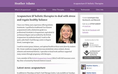 Heather Adams web site design
