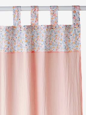 Rideaux à pattes rose imprimé fleuri