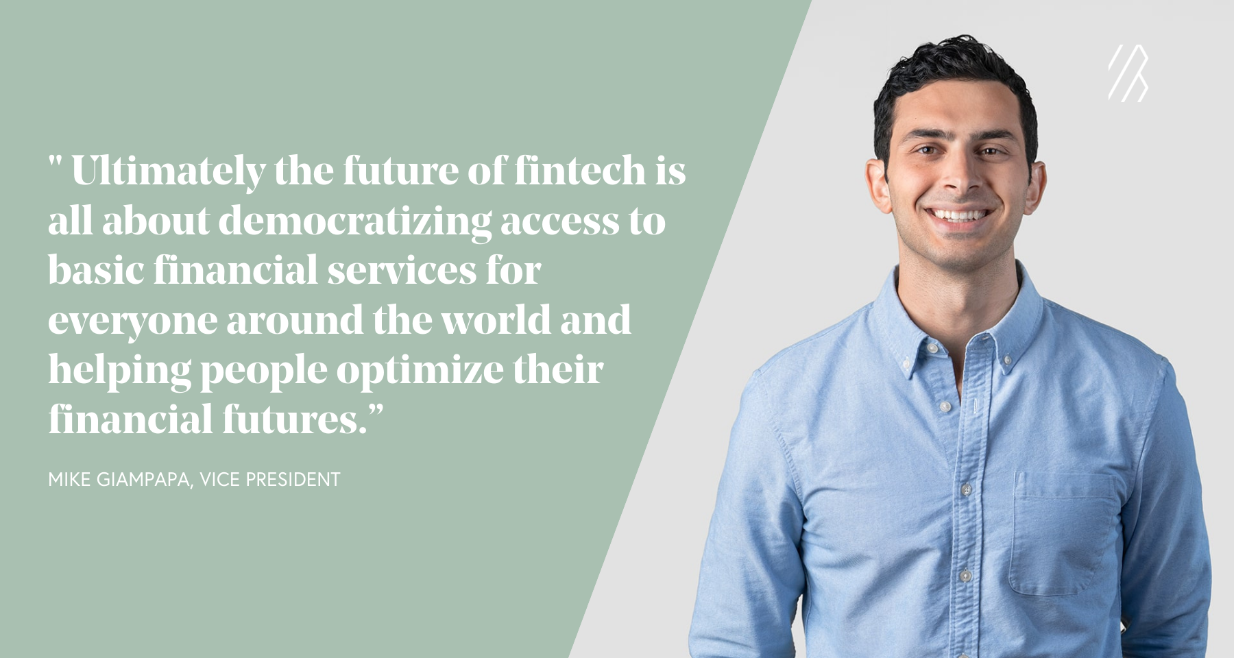 Photo of man in blue shirt with a text pullout quote about the future of fintech